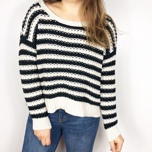 FREE PEOPLE | Black Striped At The Beach Sweater